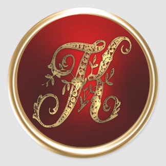 Gold and Red Monogram K Envelope Seal Classic Round Sticker