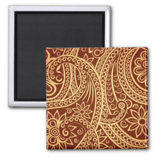 Gold and red paisley pattern 2 inch square magnet