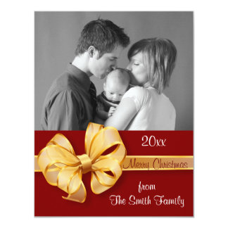 "Gold and Red Photo Christmas Card 4.25"" X 5.5"" Invitation Card"