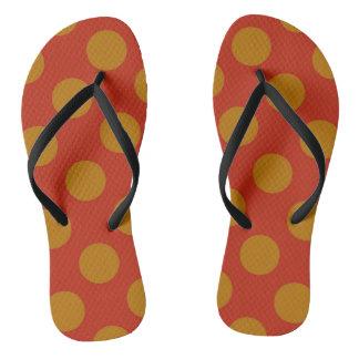 Gold and red retro polkadot flip flops. flip flops