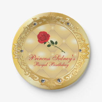 Gold and Red Rose Princess Party Paper Plate