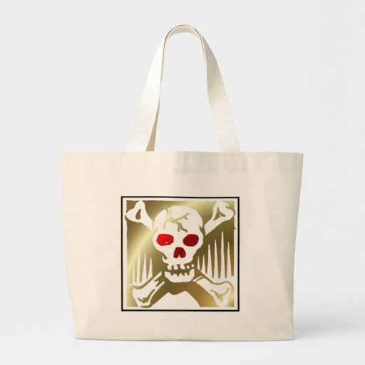 Gold and Red Skull and Crossbones Jumbo Tote Bag
