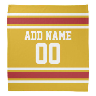 Gold and Red Sports Jersey Custom Name Number Bandana