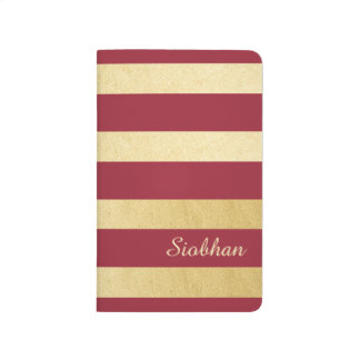 Gold And Red Strip Personalized Journal
