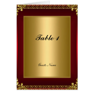 Gold and Red Table Placement Card and Menu