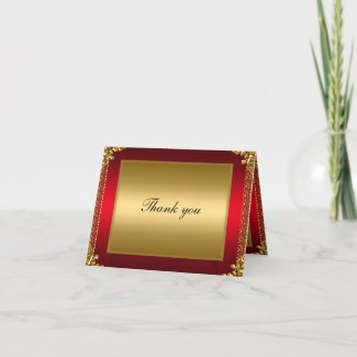 Gold and Red Thank you Card Add your own text