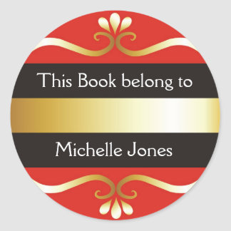 Gold And Red This Book Belongs To Bookplates Classic Round Sticker