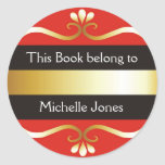 Gold And Red This Book Belongs To Bookplates Round Stickers