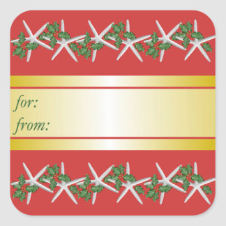 Gold and Red Tropical Starfish Christmas Gift Tag Square Sticker