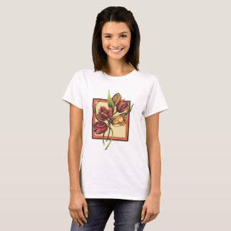 Gold and Red Tulips  Overlapping Orange Frame T-Shirt