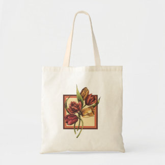 Gold and Red Tulips  Overlapping Orange Frame Tote Bag