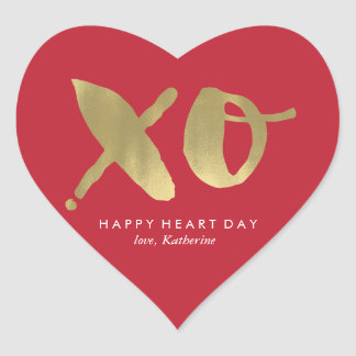 "Gold and Red ""XO"" Valentines Day Heart Sticker"