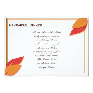 Gold and Rust Fall Leaf Rehearsal Dinner Card