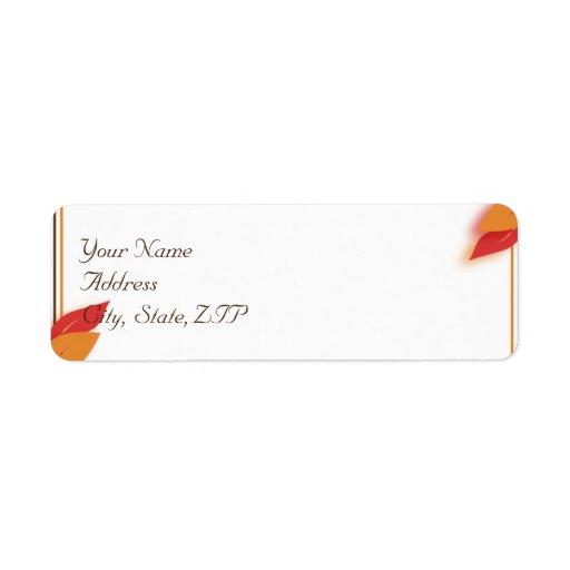Gold and Rust Fall Leaf Return Address Label