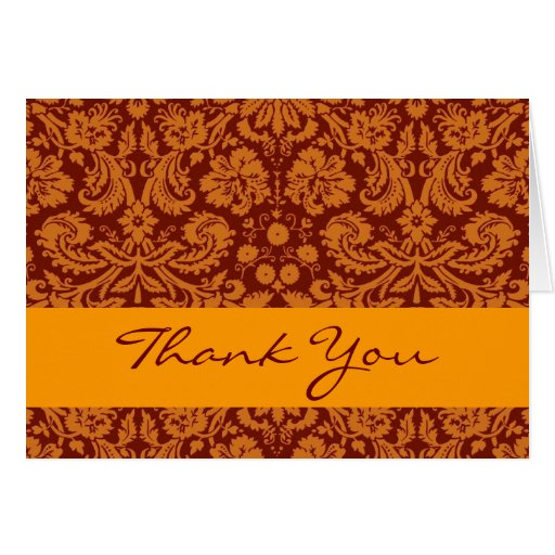 Gold and Sienna Flowery Damask Thank You V203 Stationery Note Card