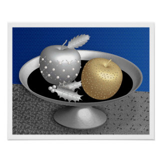 Gold and Silver Apples on a Silver Pedestal Poster