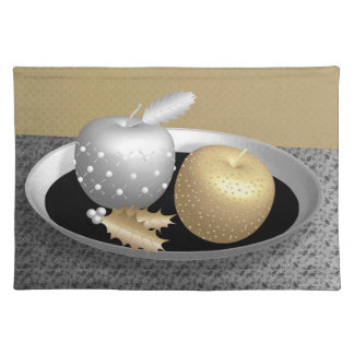 Gold and silver apples on a silver platter cloth placemat