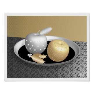 Gold and Silver Apples on a Silver Platter Poster
