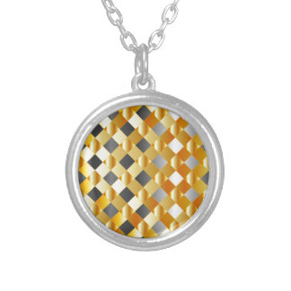 Gold and silver background silver plated necklace