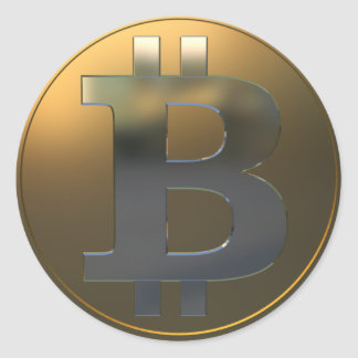 Gold and Silver Bitcoin Round Sticker