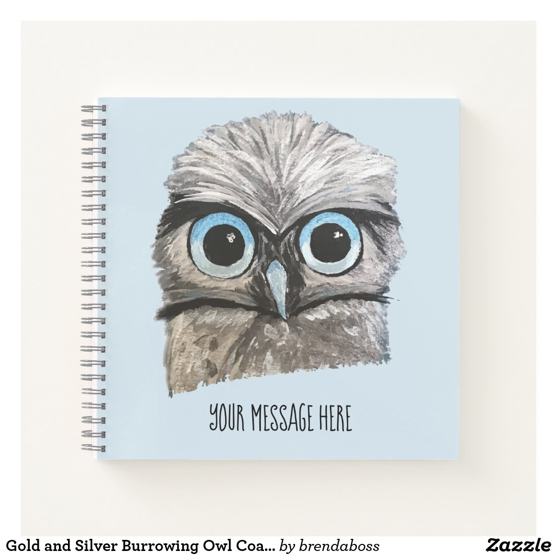 Gold and Silver Burrowing Owl Coastal Art