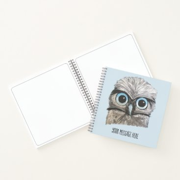 Beach Themed Gold and Silver Burrowing Owl Coastal Art Notebook