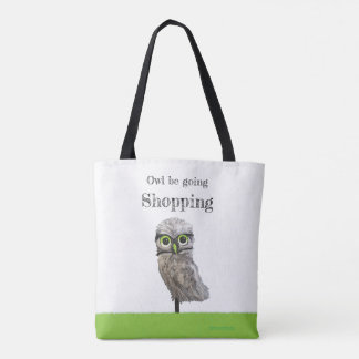 Gold and Silver Burrowing Owl Cpastal Art Tote Bag