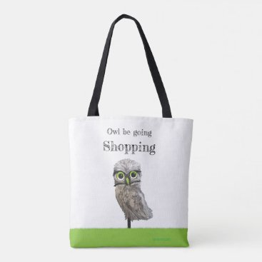 Beach Themed Gold and Silver Burrowing Owl Cpastal Art Tote Bag