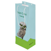 Gold and Silver Burrowing Owl Painting Wine Gift Bag
