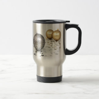Gold and Silver Christmas Ornaments and Stars 15 Oz Stainless Steel Travel Mug