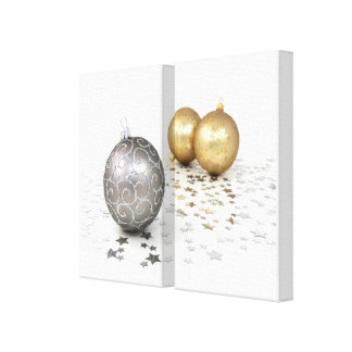 Gold and Silver Christmas Ornaments and Stars Canvas Print
