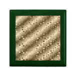 Gold and Silver Circles in a Pattern over Stripes Keepsake Boxes