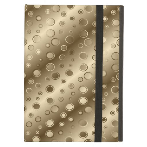 Gold and Silver Circles in a Pattern over Stripes iPad Case
