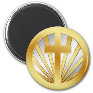GOLD AND SILVER CROSS 2 INCH ROUND MAGNET