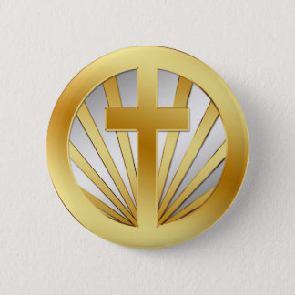 GOLD AND SILVER CROSS BUTTON
