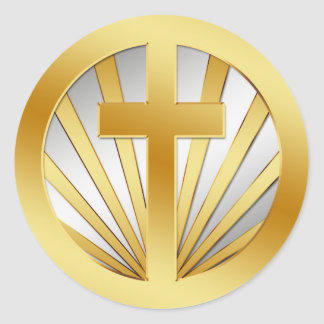 GOLD AND SILVER CROSS CLASSIC ROUND STICKER