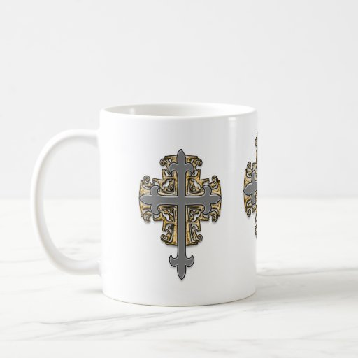 Gold and Silver Cross Classic White Coffee Mug