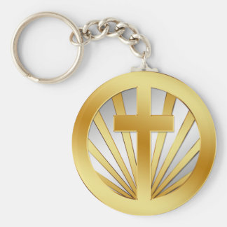GOLD AND SILVER CROSS KEYCHAIN