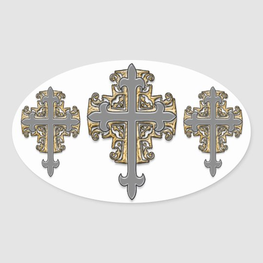Gold and Silver Cross Oval Sticker