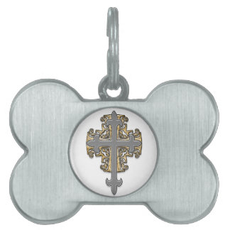 Gold and Silver Cross Pet Tag