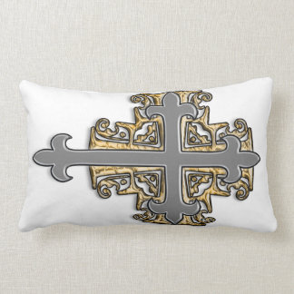 Gold and Silver Cross Pillow