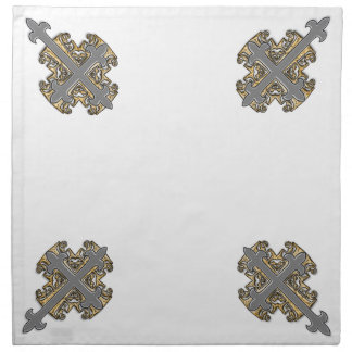 Gold and Silver Cross Printed Napkin