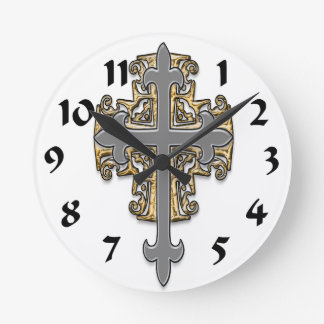Gold and Silver Cross Round Clocks