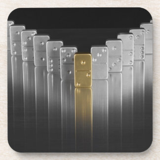 Gold and silver dominoes beverage coaster