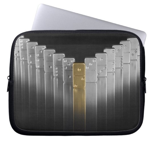 Gold and silver dominoes laptop sleeve
