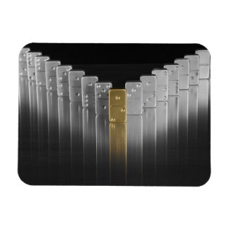 Gold and silver dominoes magnet