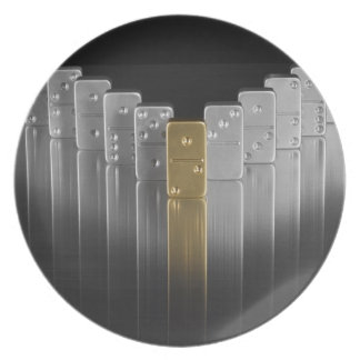 Gold and silver dominoes melamine plate