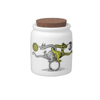 Gold and Silver Dragons United Candy Jar