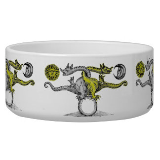 Gold and Silver Dragons United Pet Food Bowls