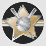 Gold and silver effect baseball star classic round sticker